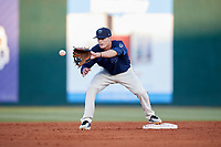 Mobile BayBears second baseman Hutton Moyer (11) waits to receive a throw during a game against the Pensacola Blue Wahoos on April 25, 2017 at Hank Aaron Stadium in Mobile, Alabama.  Mobile defeated Pensacola 3-0.  (Mike Janes/Four Seam Images)