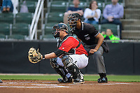 Kannapolis Intimidators catcher Zach Fish (28) sets a target as home plate umpire Ronnie Whiting looks on during the South Atlantic League game against the Hickory Crawdads at CMC-Northeast Stadium on April 17, 2015 in Kannapolis, North Carolina.  The Crawdads defeated the Intimidators 5-1 in game two of a double-header.  (Brian Westerholt/Four Seam Images)