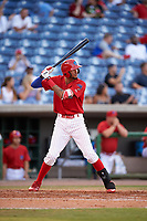 Clearwater Threshers right fielder Jose Pujols (23) at bat during a game against the Palm Beach Cardinals on April 14, 2017 at Spectrum Field in Clearwater, Florida.  Clearwater defeated Palm Beach 6-2.  (Mike Janes/Four Seam Images)