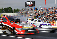 Jun 5, 2015; Englishtown, NJ, USA; NHRA funny car driver Tony Pedregon during qualifying for the Summernationals at Old Bridge Township Raceway Park. Mandatory Credit: Mark J. Rebilas-