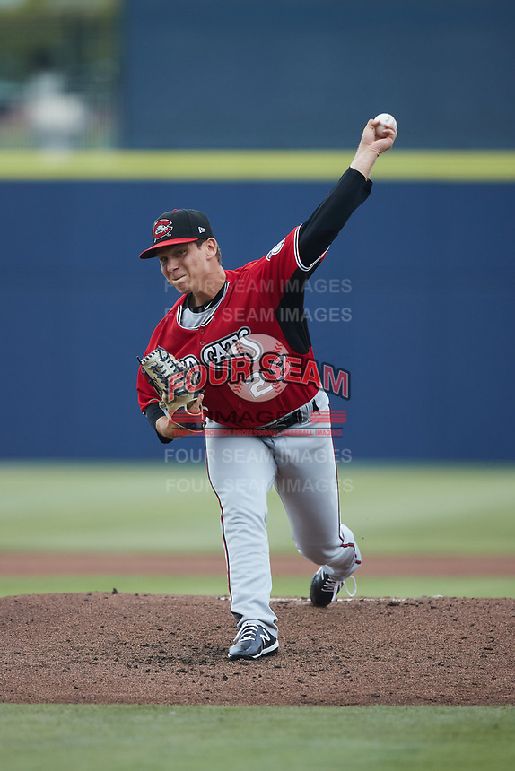 Carolina Mudcats starting pitcher Brandon Knarr (28) in action against the Kannapolis Cannon Ballers at Atrium Health Ballpark on June 9, 2021 in Kannapolis, North Carolina. (Brian Westerholt/Four Seam Images)
