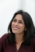 Pictured: Anuradha Roy signs copies of her book<br /> Re: Hay Festival at Hay on Wye, Powys, Wales, UK. Saturday 02 June 2018