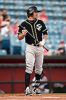 Omaha Storm Chasers outfielder Brett Eibner (8) at bat during a game against the Nashville Sounds on May 19, 2014 at Herschel Greer Stadium in Nashville, Tennessee.  Nashville defeated Omaha 5-4.  (Mike Janes/Four Seam Images)