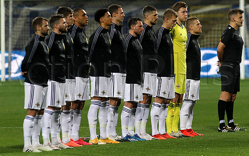 8th October 2020, Sarajevo Bosnia; European International Football Championships playoff,  Bosnia and Herzegovina versus Northern Ireland;  Northern Ireland team during national anthem