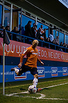 Luton Town 6 Kidderminster Harriers 0, 28/12/2013. Kenilworth Road, Football Conference. A bumper Christmas crowd packs in to Luton's old stadium with hope that this will be their year to return to the Football League. Luke Guttridge with a corner kick for Luton Town.  Photo by Simon Gill.