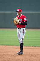 Carolina Mudcats first baseman Jake Gatewood (7) blows a bubble while on defense during the game against the Winston-Salem Dash at BB&T Ballpark on May 21, 2017 in Winston-Salem, North Carolina.  The Mudcats defeated the Dash 3-0 in 10 innings.  (Brian Westerholt/Four Seam Images)