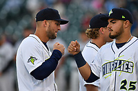 Left fielder Tim Tebow (15) of the Columbia Fireflies waits for the start of a game against the Augusta GreenJackets on Opening Day, Thursday, April 6, 2017, at Spirit Communications Park in Columbia, South Carolina. Columbia won, 14-7. (Tom Priddy/Four Seam Images)