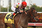 Successful Song with Joel Rosario up wins the Florida Sunshine Millions Distaff at Gulfstream Park.  Hallandale Beach Florida. 01-19-2013