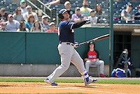 Jake Fox (43) of the New Hampshire Fisher Cats in action during a game between the New Britain Rock Cats and the New Hampshire Fisher Cats at New Britain Stadium on April 19, 2015 in New Britain, Connecticut.<br /> (Gregory Vasil/Four Seam Images)