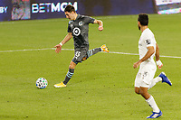 ST PAUL, MN - NOVEMBER 4: Ethan Finlay #13 of Minnesota United FC takes a shot during a game between Chicago Fire and Minnesota United FC at Allianz Field on November 4, 2020 in St Paul, Minnesota.