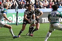 Sunday 19 October 2014<br /> Pictured: Ospreys scrum-half Rhys Webb in action.<br /> Re: Ospreys v Treviso, Heineken Champions Cup at the Liberty Stadium, Swansea