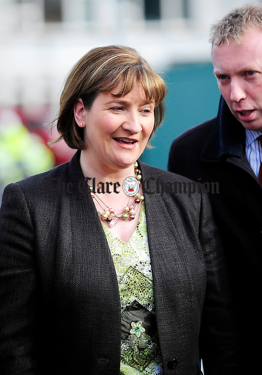 Minister of State at the Department of Health and Children Ms. Maire Hoctor TD has a word in her ear from Timmy Dooley TD during the official opening of a new extension to Cahercalla.Pic Arthur Ellis.