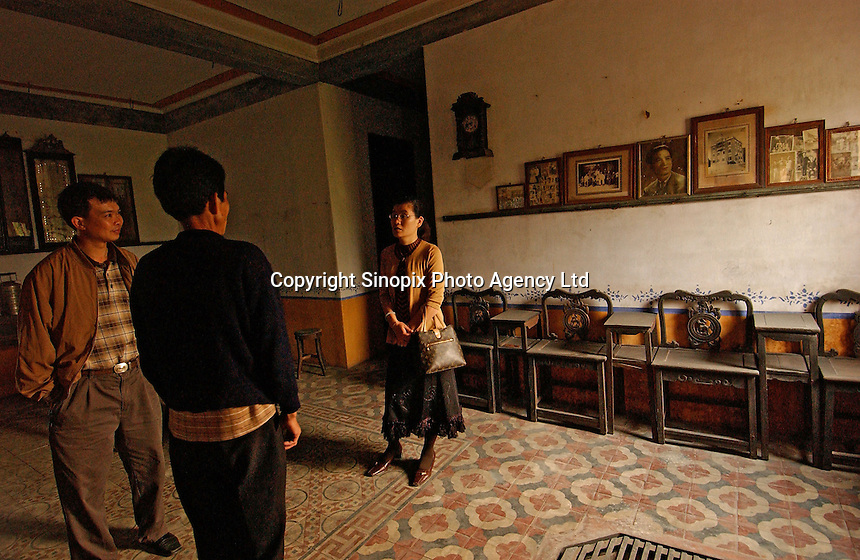"""The inside of a house in Ma Jiang Long town near Kaiping city in Guangdong Province, China. The European style """"towers"""" were built by .overseas Chinese returning with architectural ideas from America and Europe. This house was built by Ling Lu who made all his money in Mexico.."""
