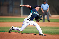 Seattle Mariners minor league pitcher Blake Houser #34 during an instructional league game against the Kansas City Royals at the Peoria Sports Complex on October 2, 2012 in Peoria, Arizona.  (Mike Janes/Four Seam Images)