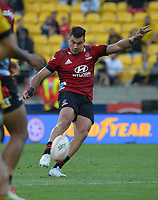 David Havili kicks the winning drop goal during the Super Rugby Aotearoa match between the Hurricanes and Crusaders at Sky Stadium in Wellington, New Zealand on Sunday, 11 April 2020. Photo: Dave Lintott / lintottphoto.co.nz
