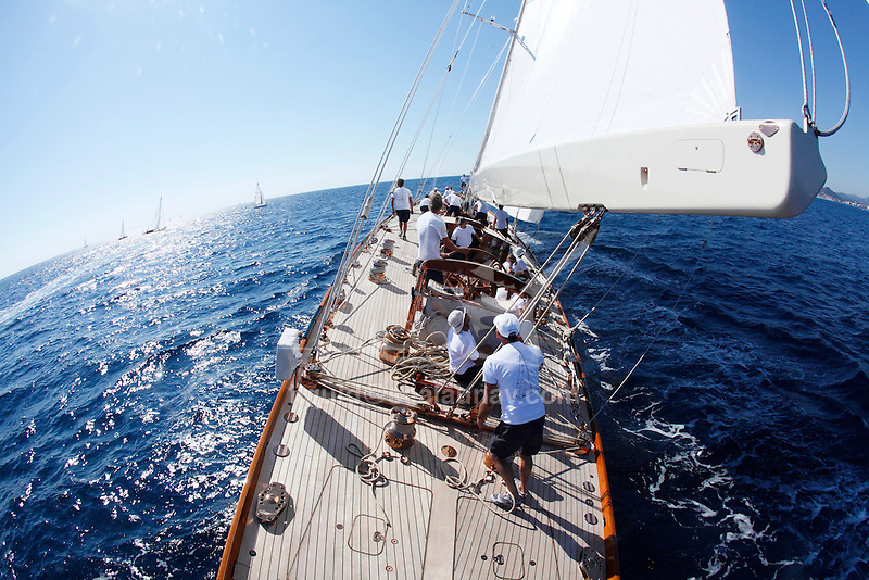 Onboard Shamrock V (JK3) during the Regates Royales in Cannes, France..Shamrock V was built in 1930 for Sir Thomas Lipton's fifth and last America's Cup challenge. Designed by Nicholson, she was the first British yacht to be built to the new J Class Rule and is the only remaining J to have been built in wood.