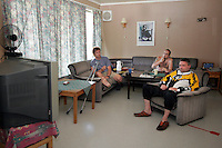 Prisoners watch Tour de France in the livingroom of their house. ..Bastøy Prison/Horten/Norway. ©Fredrik Naumann/Felix Features