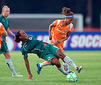 Sky Blue FC forward Natasha Kai (6) and Saint Louis Athletica defender Kia McNeill (6) during a WPS match at Anheuser Busch Soccer Park, in St. Louis, MO, July 22 2009. Athletica won the match 1-0.