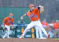 Pitcher Matt Campbell (36) of the Clemson Tigers in a game against the University of Alabama-Birmingham on Feb. 17, 2012, at Doug Kingsmore Stadium in Clemson, South Carolina. UAB won 2-1. (Tom Priddy/Four Seam Images)