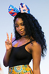 Normani Hamilton, a member of the American five-piece girl group Fifth Harmony greets to the cameras during a fan event on July 9, 2016, in Tokyo, Japan. Fifth Harmony is in Japan for the first time to promote their new song Work from Home after finishing their South American tour. (Photo by Rodrigo Reyes Marin/AFLO)