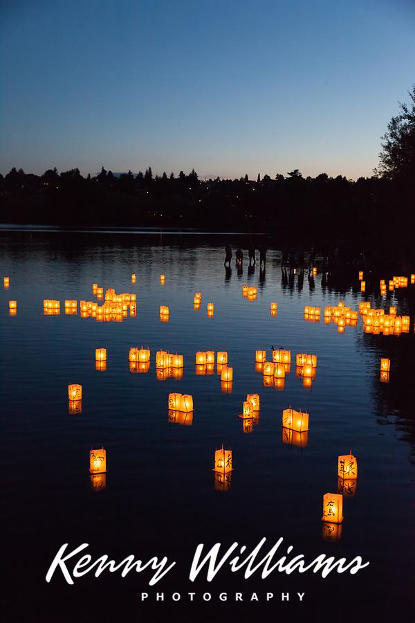Toro Nagashi Lantern Floating Ceremony, From Hiroshima to Hope 2015, Green Lake, Seattle, Washington State, WA.