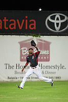 Batavia Muckdogs left fielder Kris Goodman (8) catches a fly ball during a game against the State College Spikes on June 22, 2016 at Dwyer Stadium in Batavia, New York.  State College defeated Batavia 11-1.  (Mike Janes/Four Seam Images)