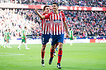 Atletico de Madrid Antoine Griezmann and Rodrigo Hernandez celebrating a goal during La Liga match between Atletico de Madrid and Deportivo Alaves at Wanda Metropolitano in Madrid, Spain. December 08, 2018. (ALTERPHOTOS/Borja B.Hojas)