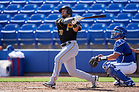 Pittsburgh Pirates Joe Hudson (70) bats during a Major League Spring Training game against the Toronto Blue Jays on March 1, 2021 at TD Ballpark in Dunedin, Florida.  (Mike Janes/Four Seam Images)