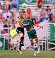 FC Gold Pride defender Carrie Dew (19) and Saint Louis Athletica midfielder Amanda Cinalli (15) during a WPS match at Anheuser-Busch Soccer Park, in St. Louis, MO, July 26, 2009.  The match ended in a 1-1 tie.