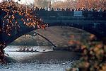 Rowing, The Head of the Charles Regatta, Charles River, Boston, women's four racing shell under the John F Kennedy Bridge in Autumn, Cambridge, Massachusetts, New England.