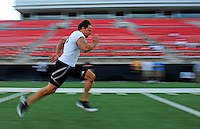 Jun. 13, 2009; Las Vegas, NV, USA; Steven Korte runs the 40 yard dash during the United Football League workout at Sam Boyd Stadium. Mandatory Credit: Mark J. Rebilas-
