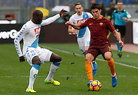 Roma's Diego Perotti, right, is challenged by Napoli's Kalidou Koulibaly during the Italian Serie A football match between Roma and Napoli at Rome's Olympic stadium, 4 March 2017. <br /> UPDATE IMAGES PRESS/Riccardo De Luca