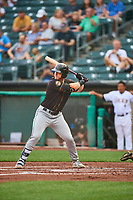 Jon McCarthy  (10) of the Sacramento River Cats at bat against the Salt Lake Bees at Smith's Ballpark on August 16, 2021 in Salt Lake City, Utah. The Bees defeated the River Cats 6-0. (Stephen Smith/Four Seam Images)