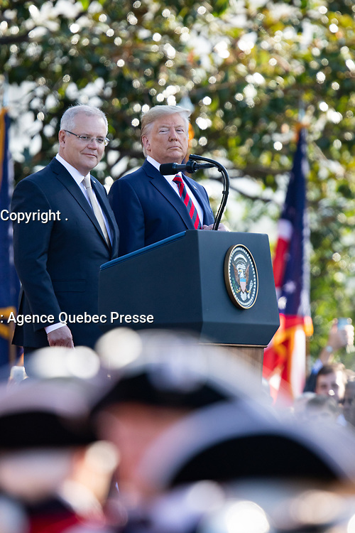 President Donald J. Trump addresses his remarks at the official State Visit welcome ceremony Friday, Sept. 20, 2019, on the South Lawn of the White House.( Official White House Photo by Keegan Barber)
