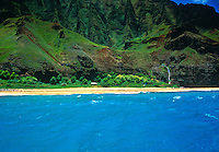View of the Na Pali coastline from a boat