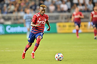 KANSAS CITY, KS - JULY 31: Jader Obrian #7 FC Dallas with the ball during a game between FC Dallas and Sporting Kansas City at Children's Mercy Park on July 31, 2021 in Kansas City, Kansas.