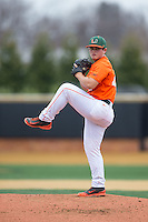 Miami Hurricanes starting pitcher Enrique Sosa (47) in action against the Wake Forest Demon Deacons at Wake Forest Baseball Park on March 22, 2015 in Winston-Salem, North Carolina.  The Demon Deacons defeated the Hurricanes 10-4.  (Brian Westerholt/Four Seam Images)