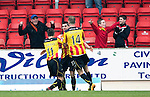 St Johnstone v Partick Thistle...29.03.14    SPFL<br /> Kris Doolan celebrates with Steven Lawless and Christie Elliott<br /> Picture by Graeme Hart.<br /> Copyright Perthshire Picture Agency<br /> Tel: 01738 623350  Mobile: 07990 594431