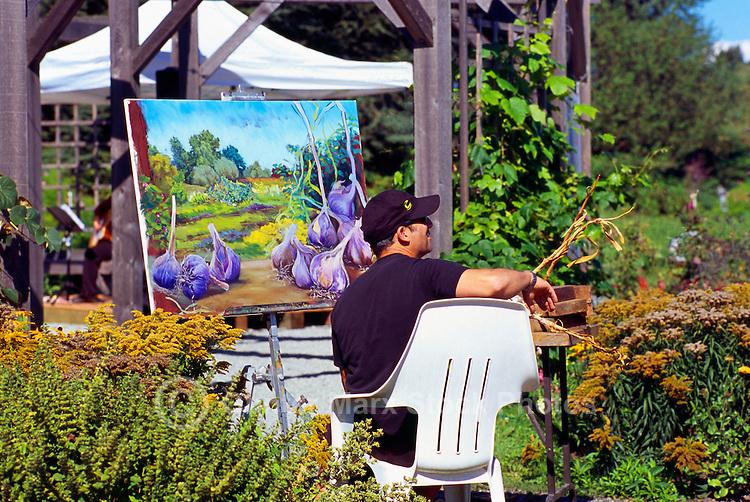 5th Annual Garlic Festival, August 2013 (hosted by The Sharing Farm) at Terra Nova Rural Park, Richmond, BC, British Columbia, Canada - Artist paints Garlic