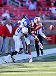 Southern Methodist Mustangs wide receiver ARRIUS HOLLEMAN (1) and Memphis Tigers wide receiver MARCUS RUCKER(18) in action during the game between the Memphis Tigers and the Southern Methodist Mustangs at the Gerald J. Ford Stadium in Dallas, Texas. Memphis defeats SMU 48 to 3...