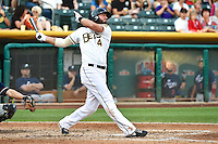 Ian Stewart (4) of the Salt Lake Bees at bat against the Reno Aces in Pacific Coast League action at Smith's Ballpark on July 24, 2014 in Salt Lake City, Utah.  (Stephen Smith/Four Seam Images)