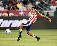 Chivas USA defender, Jonathan Bornstein(13) stretches out to get a shot off during the 1st half of the game. Chivas USA  took on the NY Red Bulls on June 28, 2008 at the Home Depot Center in Carson, CA. The game ended in a 1-1 tie.