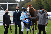Winner of The PKF Francis Clark British EBF Novice Stakes (Plus 10) (Div 2 The Rosstafarian ridden by James Doyle and trained by Hugo Palmer  in the Winners enclosureduring Horse Racing at Salisbury Racecourse on 1st October 2020
