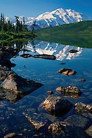 Mount McKinley <br />   from Wonder Lake<br /> Denali National Park<br /> Alaskan Range,  Alaska