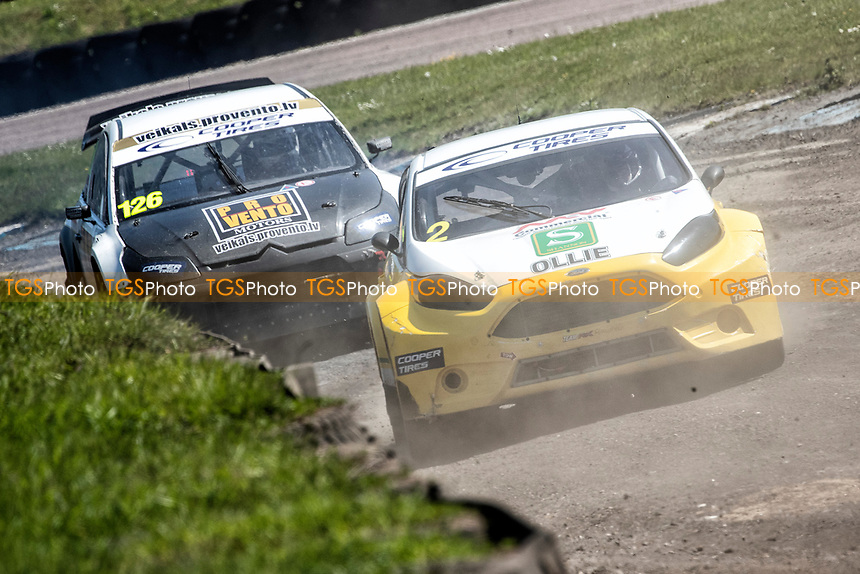 Ollie O'Donovan, Ford Fiesta, BRX Supercars is pursued through Chessons by Robert Vitols, Citreon C4, BRX Supercars during the 5 Nations BRX Championship at Lydden Hill Race Circuit on 31st May 2021