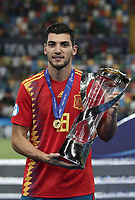 Spain's Rafa Mir holds the trophy at the end of the Uefa Under 21 Championship 2019 football final match between Spain and Germany at Udine's Friuli stadium, Italy, June 30, 2019. Spain won 2-1.<br /> UPDATE IMAGES PRESS/Isabella Bonotto
