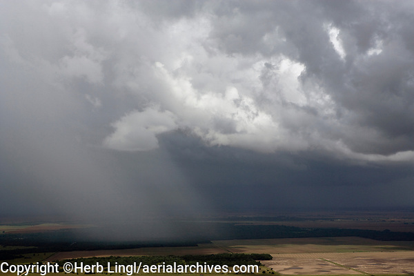 aerial photograph of a summer thunderstorm shower in western Texas