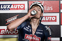 post-race winners face:<br /> Mathieu van der Poel (NED/Alpecin-Fenix) wins the race he entered 'to test his back' and check if he could be ready for the World Championships 2 weeks later and Roubaix the week after that<br /> <br /> Antwerp Port Epic / Sels Trophy 2021 (BEL)<br /> One day race from Antwerp to Antwerp (183km)<br /> <br /> The APC stands qualified as a 'road race', but with 36km of gravel and 28km of cobbled sections in and around the Port of Antwerp (BEL) this race occupies a unique spot in the Belgian race scene.<br /> <br /> ©kramon