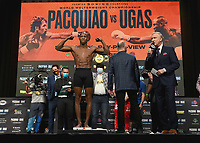 LAS VEGAS, NV - AUG 20:  Yordenis Ugas at the official weigh-in at the MGM Grand Garden Arena for the upcoming Fox Sports PBC pay-per-view fight night on August 20, 2021. The Pacquiao vs Ugas pay-per-view will be on August 21 at T-Mobile Arena in Las Vegas. (Photo by Scott Kirkland/Fox Sports/PictureGroup)