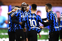 Romelu Lukaku of FC Internazionale celebrates after scoring the goal of 3-2 during the Serie A football match between FC Internazionale and Torino FC at stadio San Siro in Milano (Italy), November 22th, 2020. Photo Image Sport / Insidefoto
